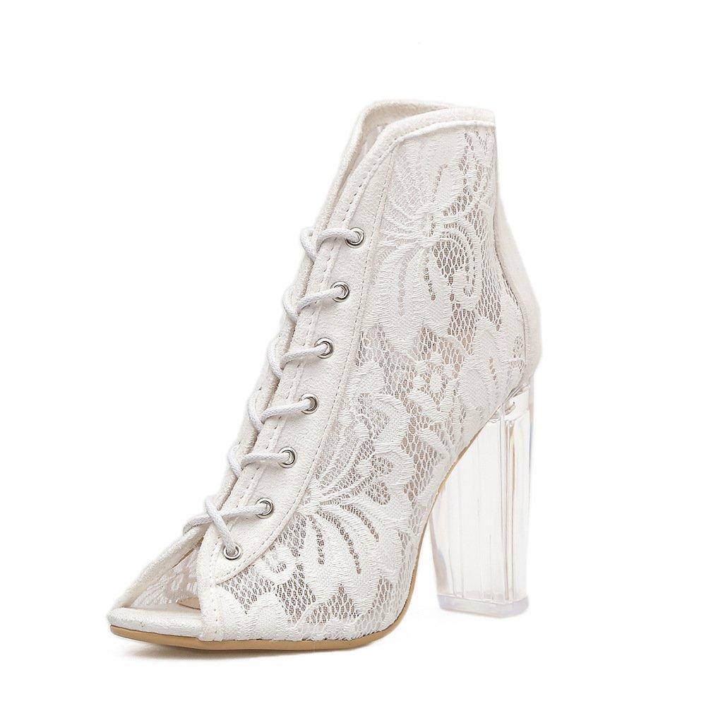ZHZNVX Sexy römischen Gurt für Frauen spitze Kaltstarts net Garn transparent dicke Schuhe mit hohen Absätzen Sandalen Gurt ausgesetzt