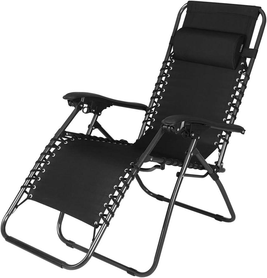 Casaria Sedia a gravit/à zero regolabile poggiatesta acciaio poliestere Sedia a sdraio pieghevole sedia da giardino esterno terrazza patio nero