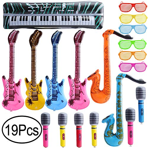 Hicdaw Inflatable Rock Star Toy Set Inflatable Party Props Included 4 Inflatable Guitar 6 Microphone 6 Shutter Shading Glasses 2 Saxophone 1 Keyboard 19 Pack Party Favors Gift for Kids -