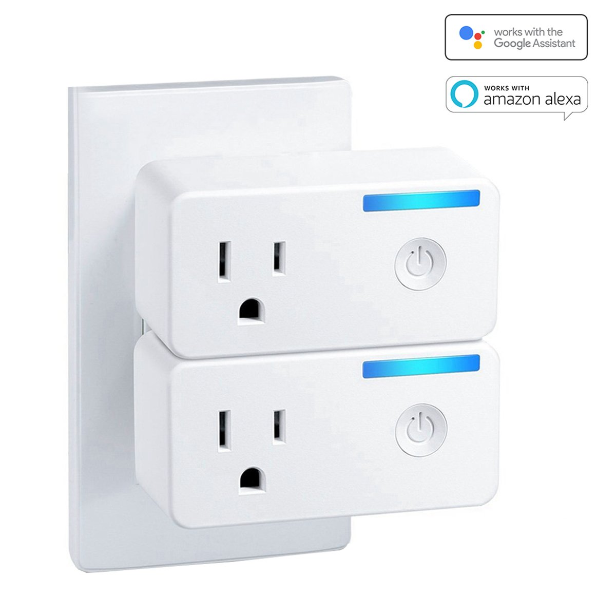 Smart Plug 2 Pack, WiFi Outlet Smart Socket with Timer Compatible with Amazon Alexa,Google Home and IFTTT,Remote App Controlled Appliances from Anywhere No Hub Required