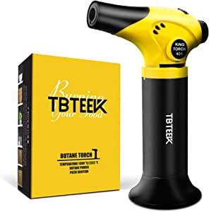 TBTEEK Kitchen Torch, Refillable Mini Creme Brulee Torch, Cooking Butane Torch with Safety Lock & Adjustable Flame for Cooking, BBQ, Baking, Brulee, Creme, DIY Soldering(Butane Not Included)