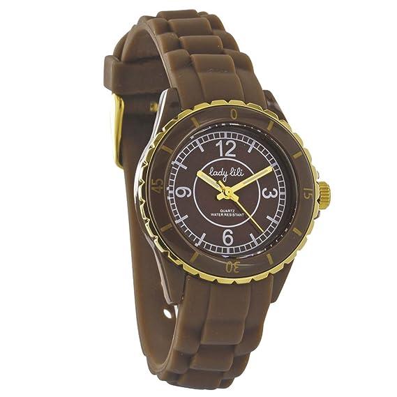 Lady Lili - Reloj Mujer Cubierta plástico marrón, correa silicona marrón: Amazon.es: Relojes