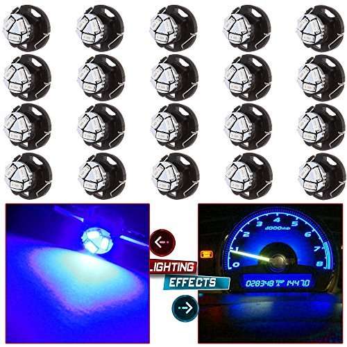 cciyu 20 Pack Brightest Blue T5 /T4.7 Neo Wedge 12mm 12V 3 SMD A/C Climate Control LED Light Bulbs