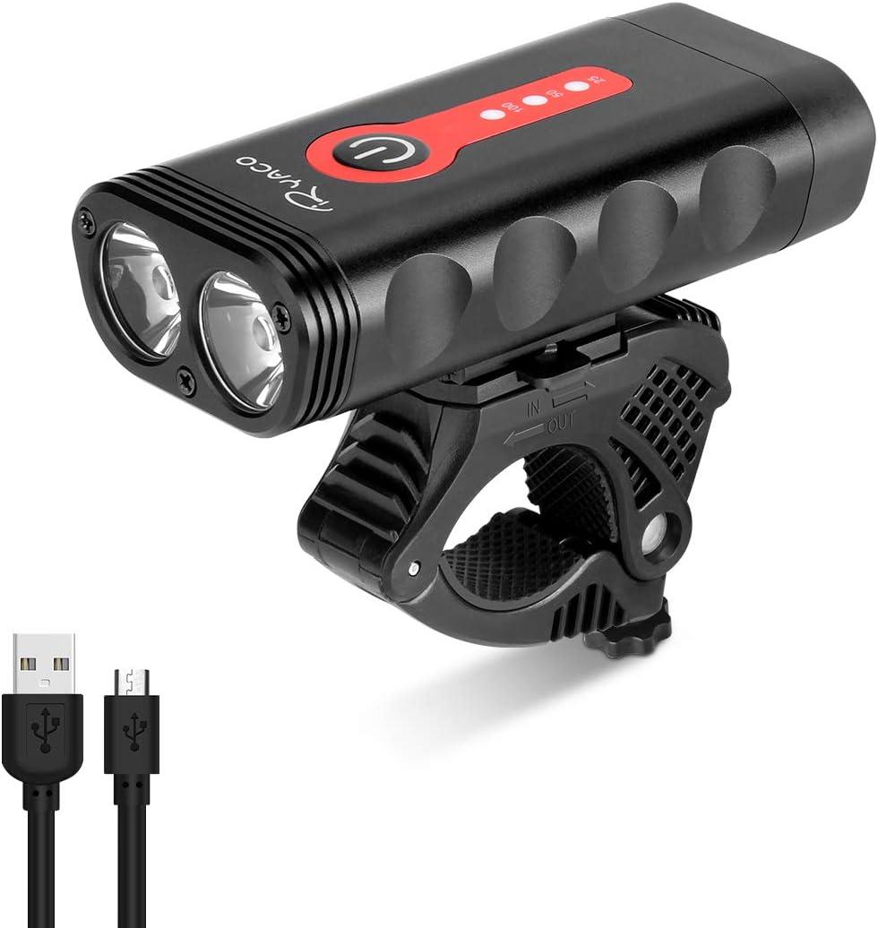 Ryaco Luz Bicicleta Recargable USB, 4 Modos de iluminación 2400 ...