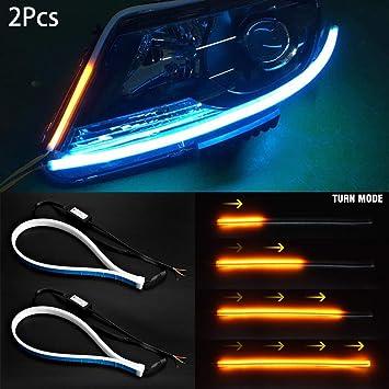 Tira de luces LED para coche de 45 cm, ultrafina, luz de circulación diurna: Amazon.es: Coche y moto