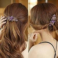 Purple New Fashion crystal Rhinestone Flower Hair Barrette Clip Hairpin Women Jewelry