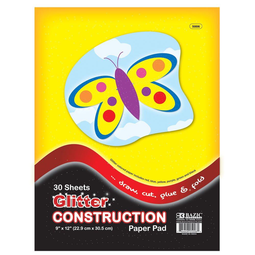 Multi Colored 9 x 12 Inch Bazic Stationery//Bangkit USA Corporation 5006 Bazic Glitter Construction Paper Pad 30 Sheets