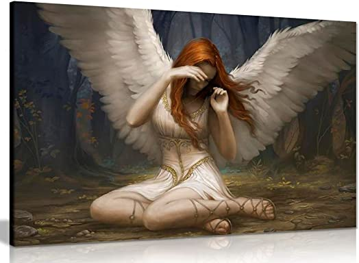 Angel Weeping Fantasy Canvas Wall Art Picture Print 36x24in