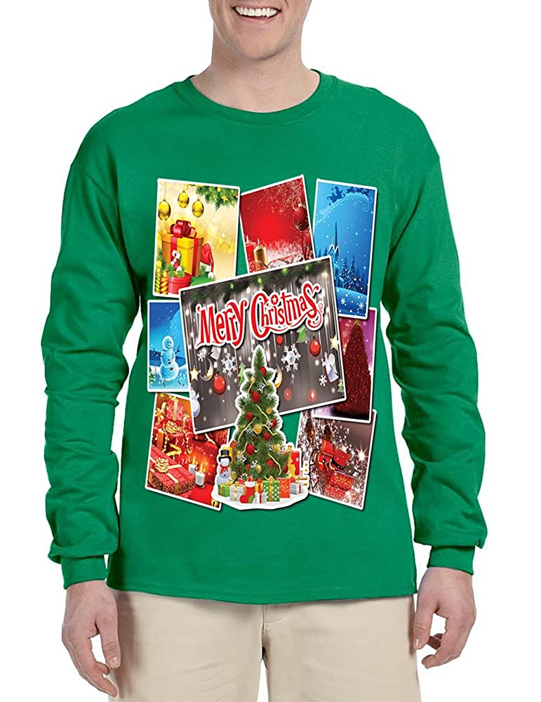 Allntrends Mens Long Sleeve Merry Christmas Postcards Holiday Graphic Tee