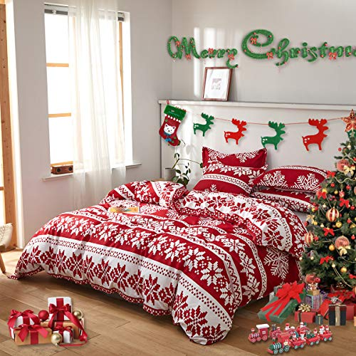 Uozzi Bedding Queen Duvet Cover Set Christmas Red and White Snowflake Style 800 - TC Luxury Hypoallergenic 1 Microfiber Comforter Cover with 2 Pillow Shams for Holiday New Year Gift Choice