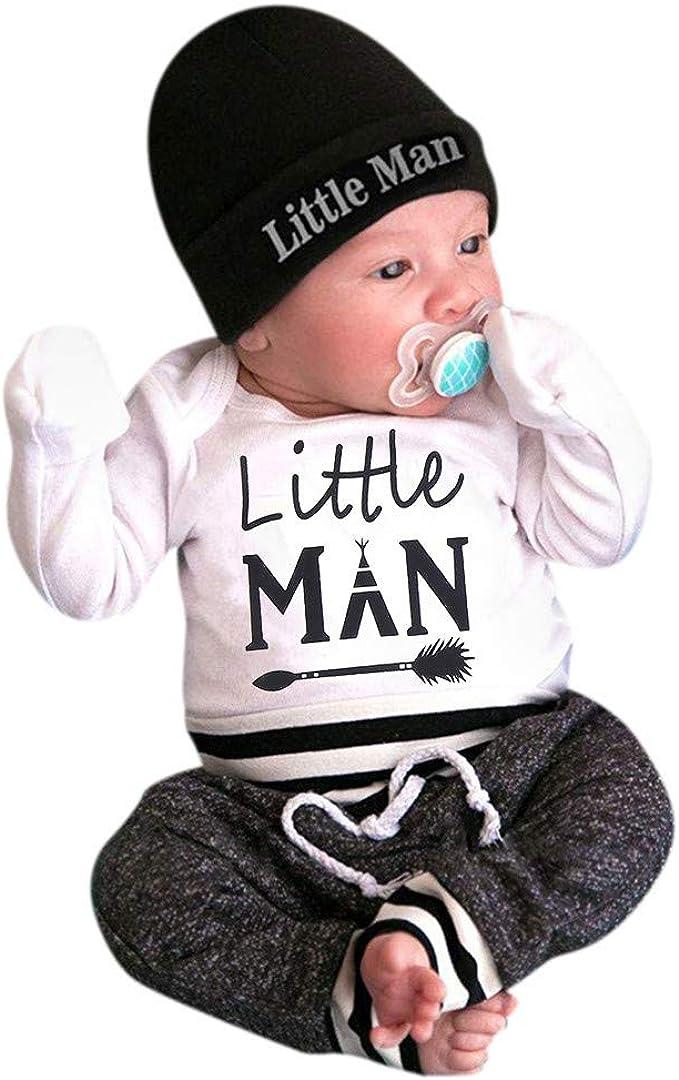 Neugeborenes Baby Junge 3 Pcs Kleider Brief Strampler Bodysuit Hose und Hut Set /…