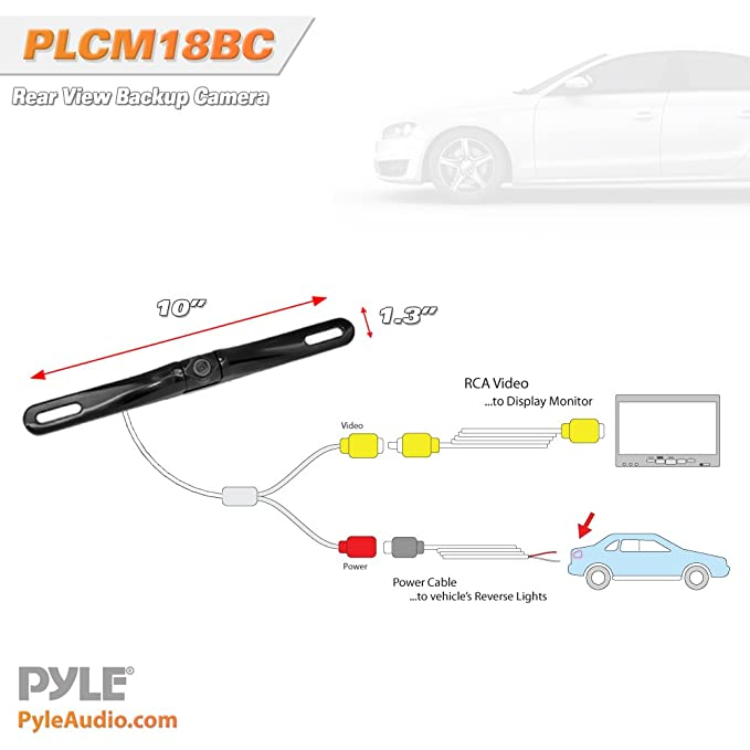 pyle plcm18bc license plate mount rearview backup color camera with rh amazon ca Simple Wiring Diagrams Simple Wiring Diagrams