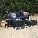 PHI VILLA 3 Piece New Outdoor Furniture Sectional Sofa Patio Set with Upgrade Rattan Wicker, Navy Blue