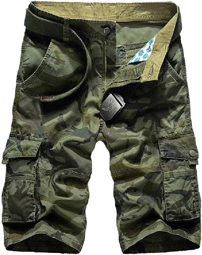 Candiyer Mens Baggy Relaxed-Fit Multi-Pockets Straight-Fit Multicam Short Pants