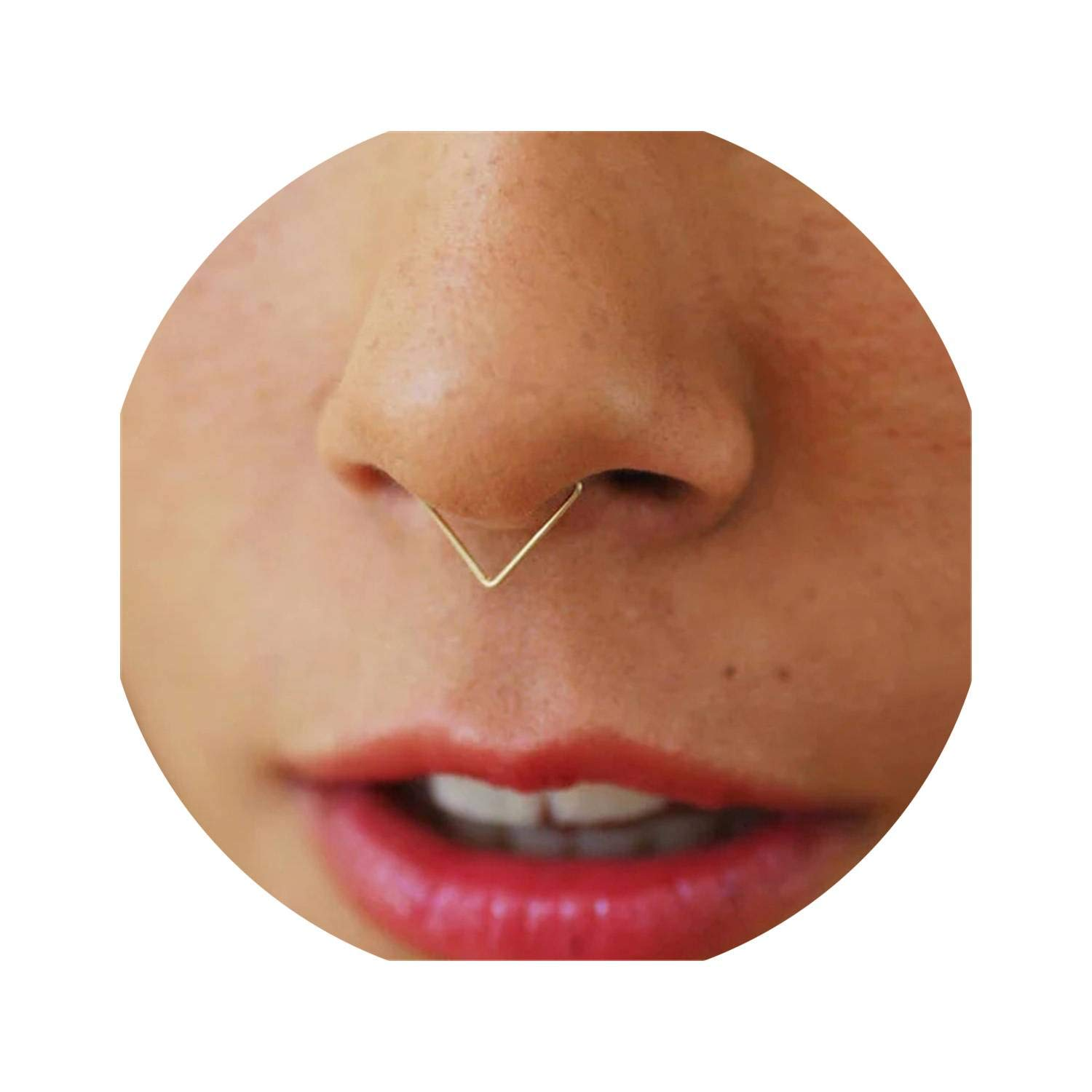 Lotus leaf fragrance Nose Ring Handmade Piercing Jewelry Triangle Surface Punk Charm Circular Tiny Septum Hoop Jewelry Grillz Fake Piercing,14k Gold Filling