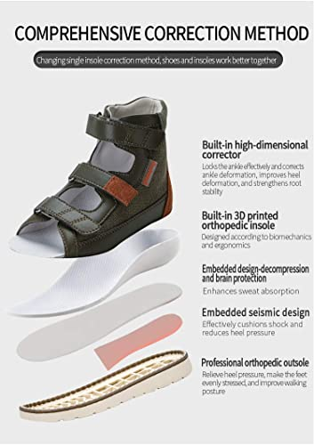 Adjustable Strap Kids Closed-Toe Hallux Valgus Shoes for Flat Feet,Gray,19 NAMENLOS Kids Toddler Girls Boys Orthopedic Corrective Sandal with Arch Support and Ankle Brace