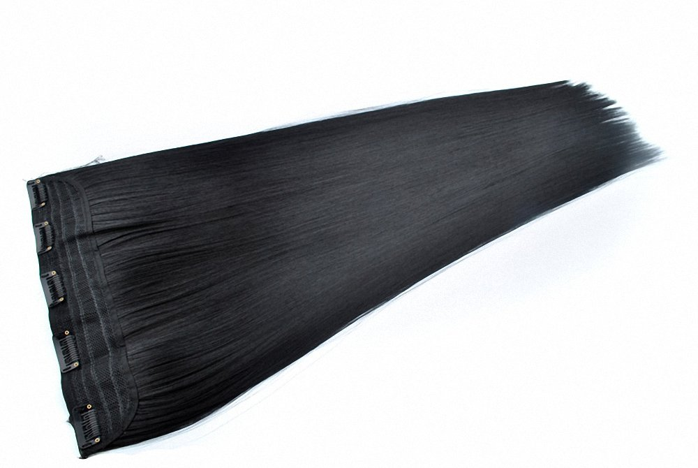 Feshfen 61cm Long straight ombre Two Tone synthetic Hair extensions clip in on Hairpieces 5clips One Piece 3/4Full Head Cosplay party-2tburg naturale nero a bordeaux