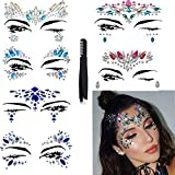 Face Jewels Glitter Temporary Tattoo With Tweezers Tool,6 Sets Body Rhinestone Jewelry Stickers Crystal Mermaid Eyes Tears Gems Stones For Festival Party Women