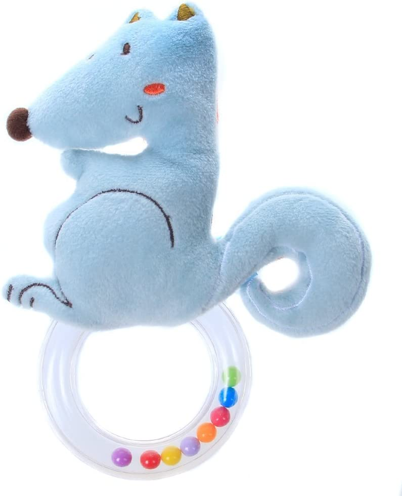 Blue Squirrel Labebe Rattle /& Spin Activity Toy