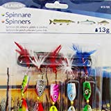 FLADEN 5 Piece LAKE and COAST SPINNERS Bait 13g Assorted All Round Fishing Lures - Bass, Pollack, Mackerel, Perch, Pike [16-7536] by FLADEN