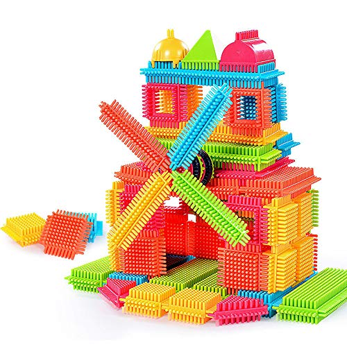 (Building Bricks Set for Kids, 150pcs Bristle Shape 3D Building Blocks Tiles Construction Playboards Toys Shape Sorter Preschool Geometry Stacking Game Educational Toys (As shown))