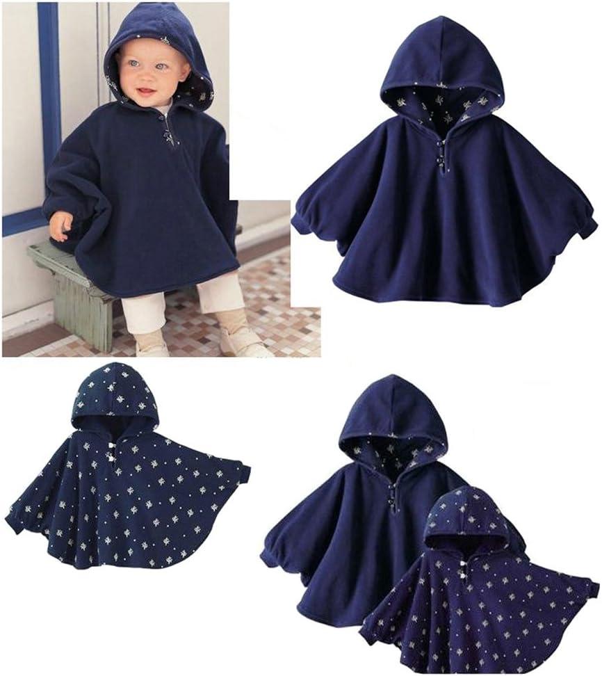 Pl/üsch Poncho mit Kapuze Kleidung Tininna Cape Mantel f/ür Babys Bleu Clair 75 0-9mois