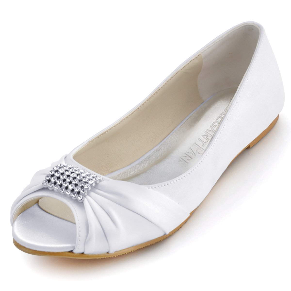 ElegantPark EP2053 Women Peep Toe Rhinestones Comfort Flats Pleated Satin Wedding Bridal Shoes White US 10