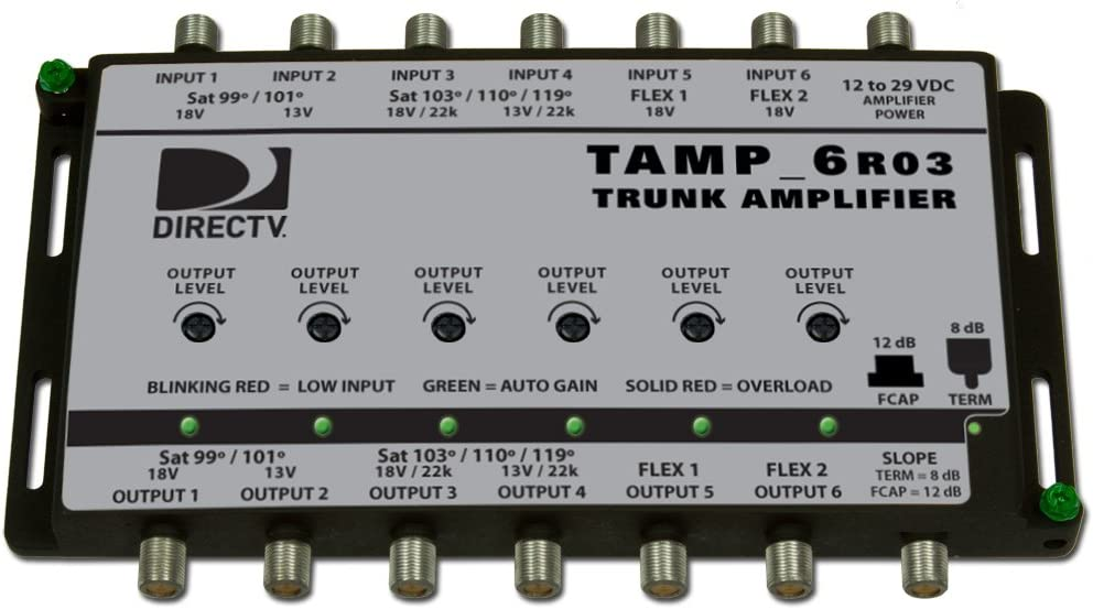 TAMP6R03-T12 DIRECTV 250 to 2150 MHz (6) coax amplifier with automatic gain, adjustable output and selectable slope, includes PS121000A power adaptor