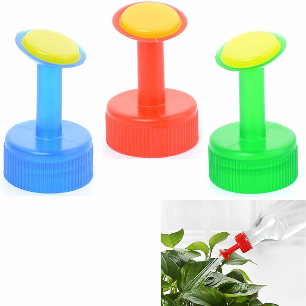 ORYOUGO 6 Pack Mini Hand Portable Watering Sprinkler,Waterers Bottle Spout Nozzle Cap Converter for Plant Flower Gardening,Works with 0.5,1,1.5,2 Liter Soda Bottle (Green&Red&Blue)