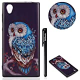 BtDuck Sony Xperia L1 Phone Case Clear Purple Owl Silicone Gel Soft Case Bumper Shockproof Back Cover Ultra Phone Protective Animals Phone Case Pattern Cover Thin Rubber Case