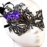 ABC® Lady Black Lace Floral Eye Mask Venetian Masquerade Fancy Party Event
