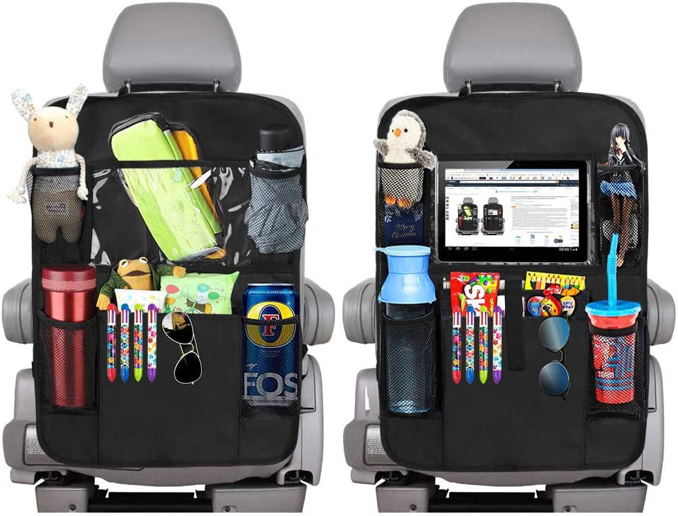 "EFULL - Car Back Seat Storage Organiser x2-10.1"" iPad/Tablet Holder Touch Screen Kids Kick Mat Seat Protector Multi-Pocket Children's Travel Storage - Black"