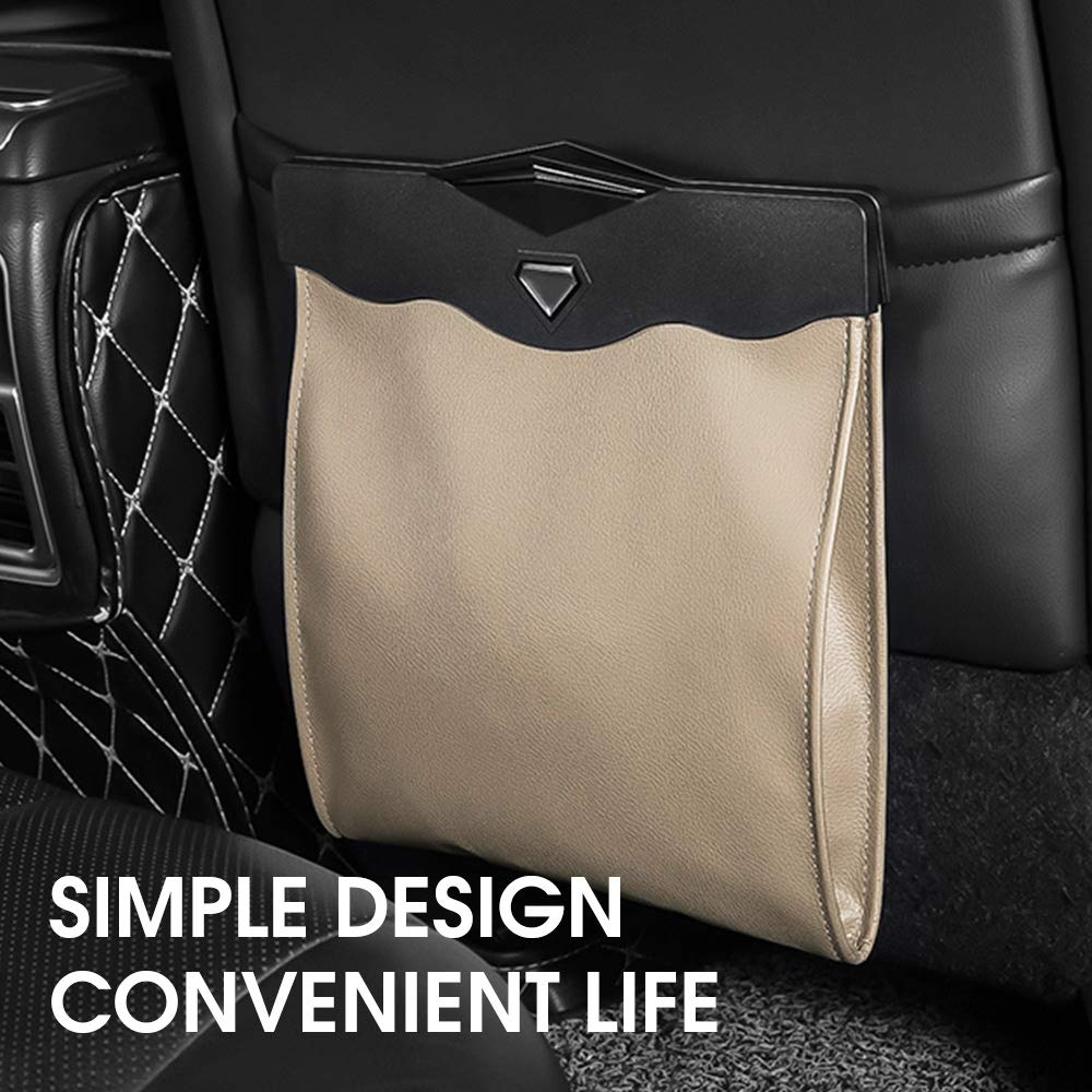 QUEES Car Trash Bag Magnetic Garbage Bag Auto Litter Car Bag Great for Cars Back Seat,Khaki