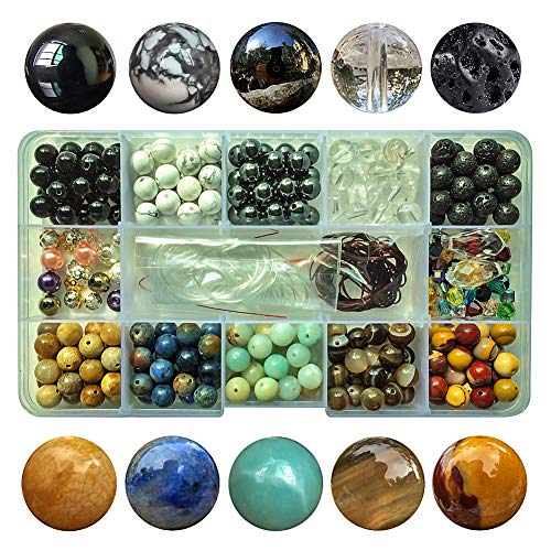 Chengmu 8mm Bead Kit Gemstone Beads for Jewelry Making 1 Box 10 Species Natural Black Onyx Amazonite Black Lava Hematite Round Loose Stone Beads Set for Bracelet Necklace With Elastic Cord Box Color E