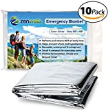 Emergency Mylar Thermal Blanket 10 Pack; Space Blankets Designed for NASA, Perfect Survival Gear for Adults and Kids, Equipment for Earthquake Preparedness Kit, Outdoors, Bug Out Bags, First Aid Kits