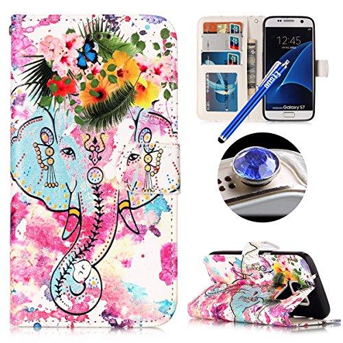 Funda Galaxy S7Cubierta,Caso ETSUE Caja Teléfono Tirón Del Cuero para móvil Galaxy S7 Caso de Cuero con Forro Suave Silicona,2017 Nuevo diseño Niño Hombre Funda colorido hermoso Elegante Interesante m flor elefante