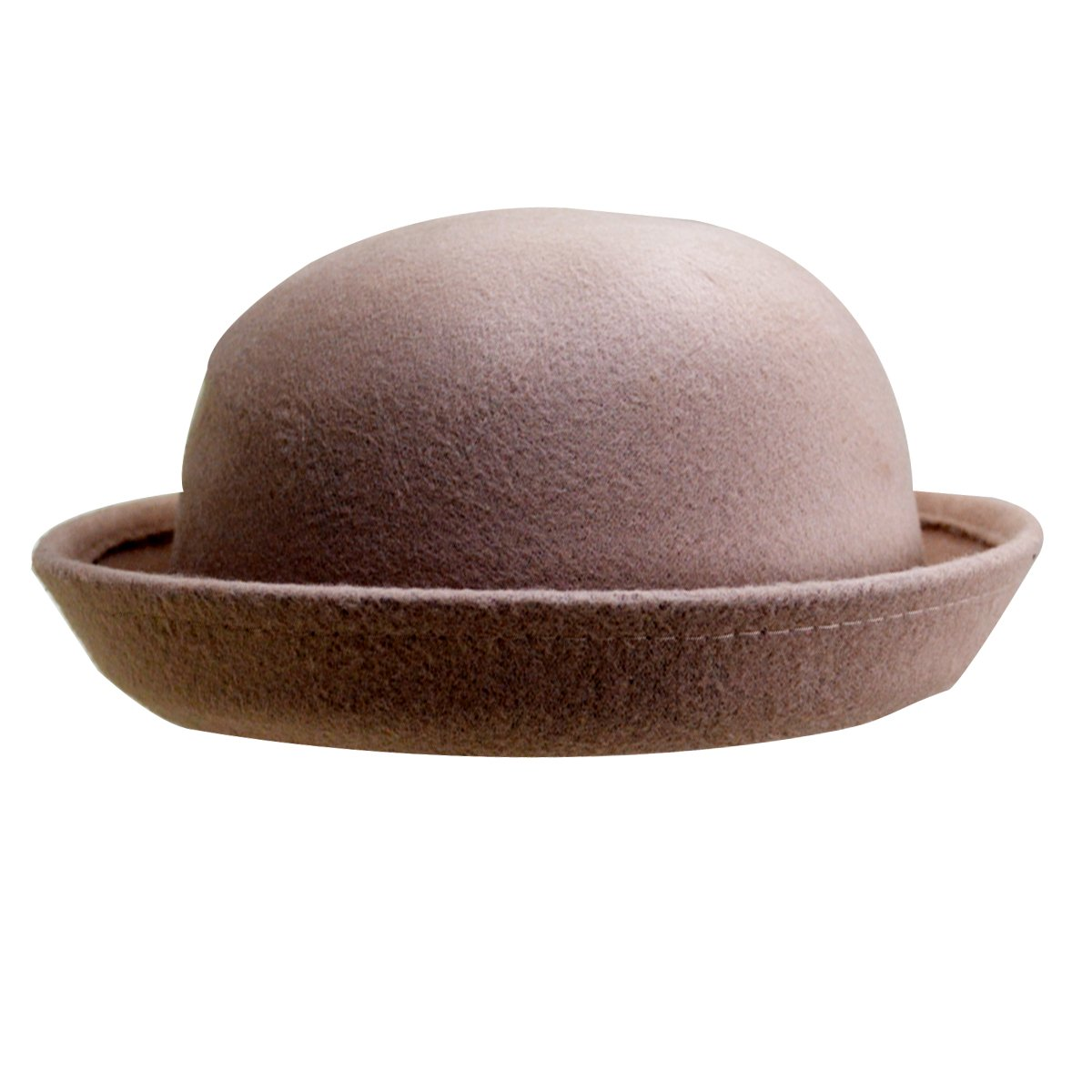 Editha Girls Roll-up Brim Woolen Fedora Fashion Dome Bowler Hat Spring Autumn Winter Casual Outdoor Travel Bowler Cap Light tan