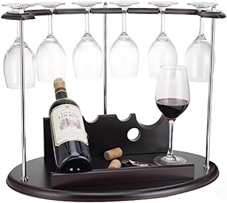 YCOCO Countertop Wine Rack,Hold 4 Bottles and 4 Glasses Wine Holder Storage Stand,Freestanding Wine Storage for Kitchen Home Bar Storage and Kitchen Decor,Bronze