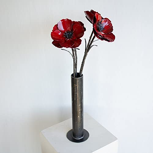 Vase of metal poppy flowers