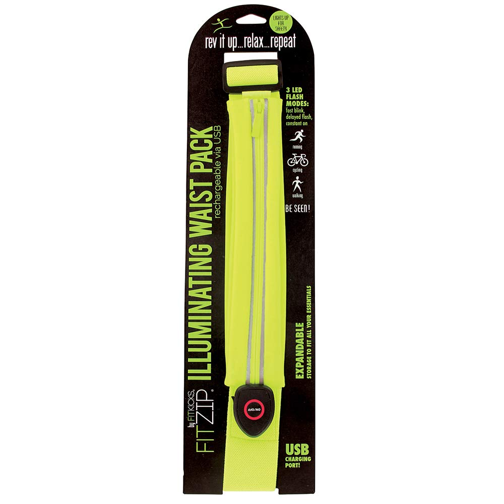 FitKicks FITZIP Illuminating Waist Pack Running Belt – Rechargable LED Nighttime Neon