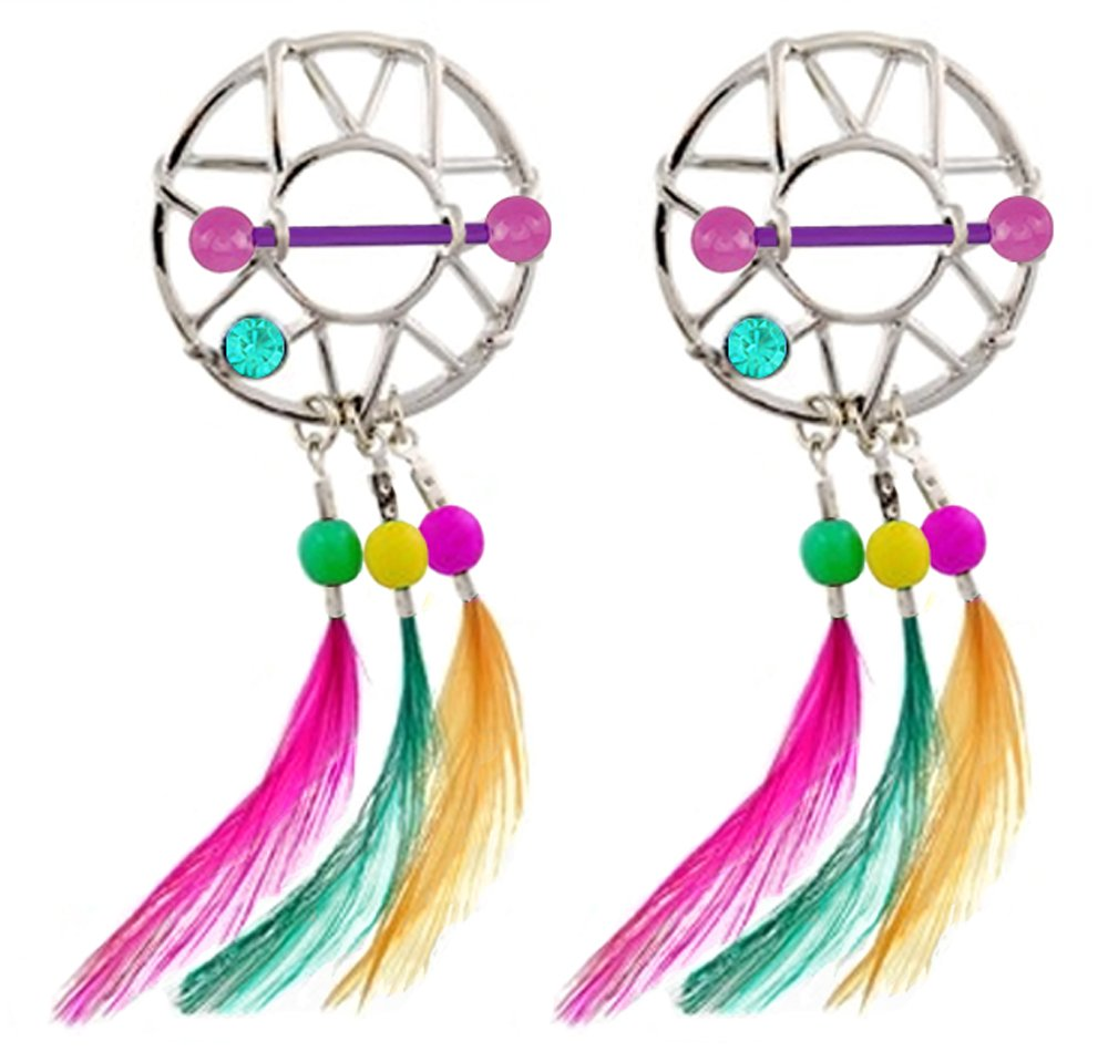 Pair of Purple Glow in the Dark flexible bar Dreamcatcher colorful feathers dream catcher Nipple Shield rings - 14g