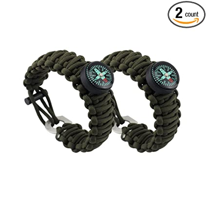 AnyGear Outdoor Survival Paracord Bracelet - Adjustable-size Emergency  Bracelet with Fire Starter and Compass a930bfcf1f7