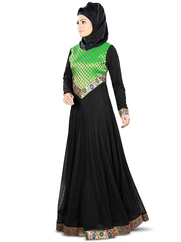 MyBatau Islamic Black & Green Eid & Party Wear Traditional Burqa Abaya Dress AY-356