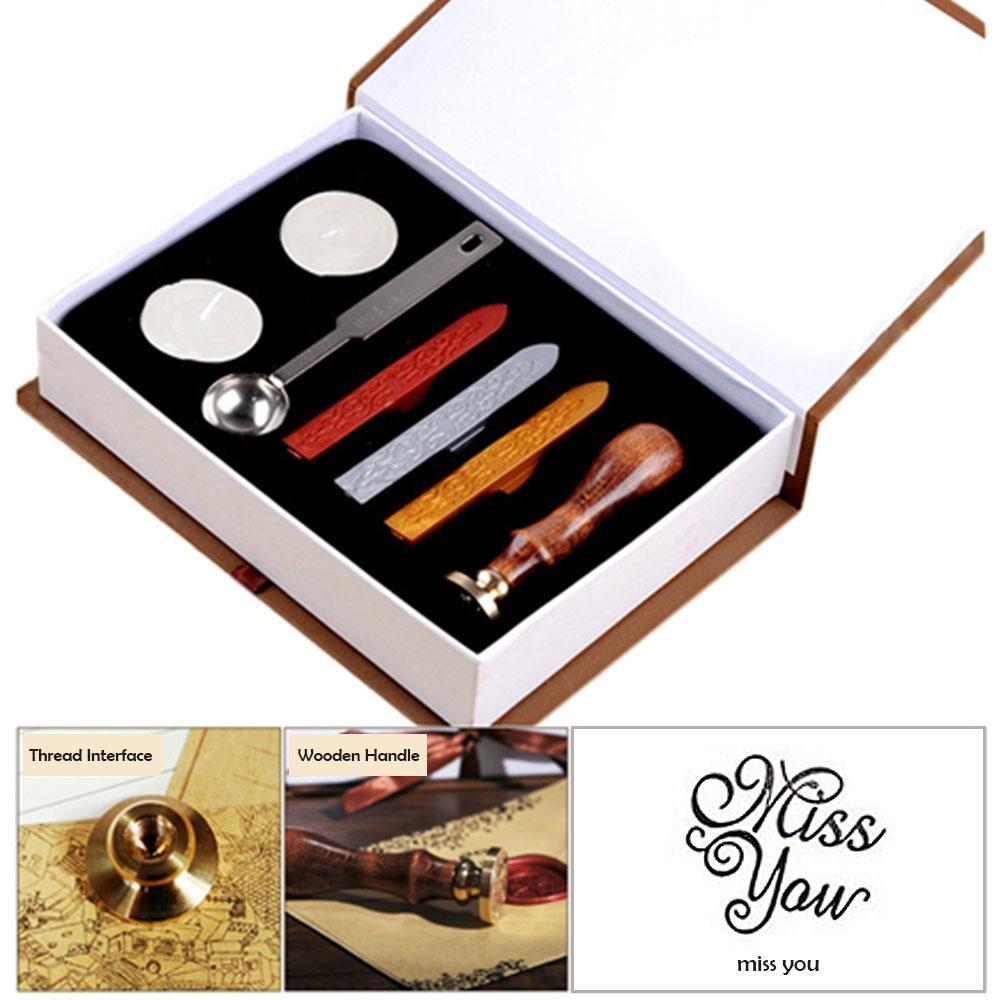 Aolvo Wax Seal stamp kit, lettera dell' alfabeto iniziale vintage di legno antico classico europeo retrò set creativo romantico retrò Seal francobolli Maker, Love, taglia unica