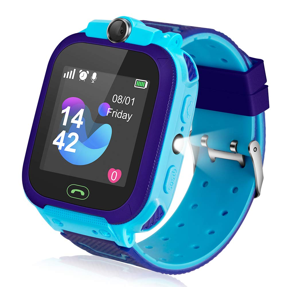 Ameiqa Kids Smart Watch, Kids LBS Tracker Watch Color Touch Screen Smartwatch with Camera Flashlight Smartwatch for Kids, SOS Emergency Call Watch, Kids Phone Watches Compatible with iOS and Android by Ameiqa