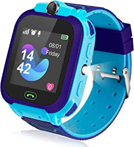 Ameiqa Kids Smart Watch, Kids LBS Tracker Watch Color Touch Screen Smartwatch with Camera Flashlight Smartwatch for Kids, SOS Emergency Call Watch, ...