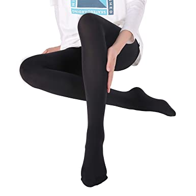 38556e0d38a WEANMIX Women s Opaque Tights Control Top Pantyhose Footed 180 Denier Soft  Solid (Black
