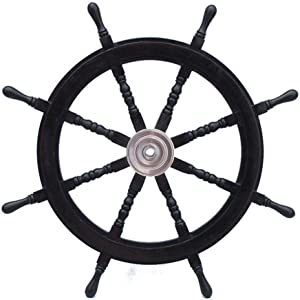 "Hampton Nautical Deluxe Class Wood and Chrome Pirate Decorative Ship Steering Wheel 36"" - ation"
