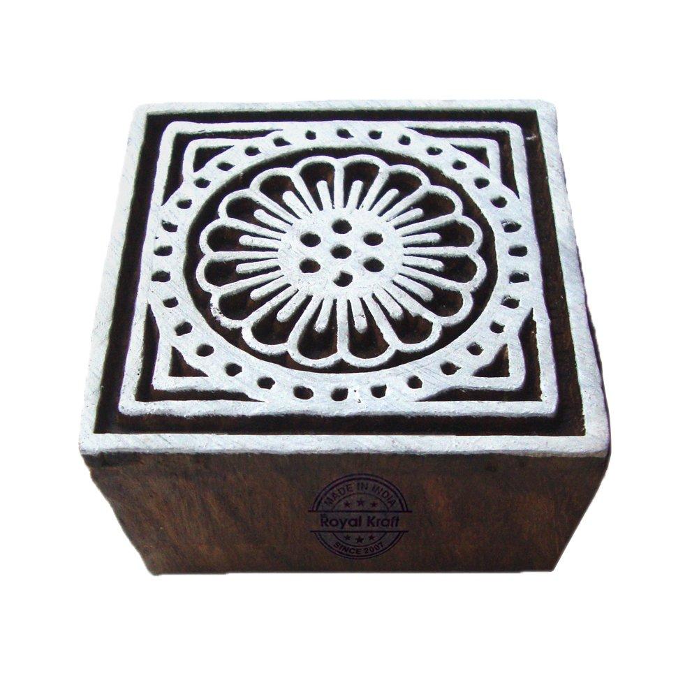 Tradizionale Quadrato Floreale Designs Legno Blocco Tessile Timbro Royal Kraft THCtag010