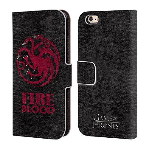 Officiel HBO Game Of Thrones Targaryen Symboles Affligés Sombres Étui Coque De Livre En Cuir Pour Apple iPhone 6 / 6s